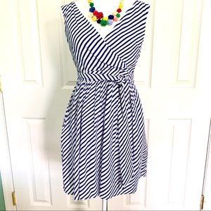 Ann Taylor Loft Striped Crossover Dress Blue white